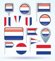 Flag set of netherlands, vector illustration