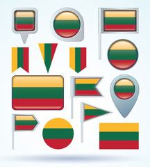 Flag set of Lithuania, vector illustration