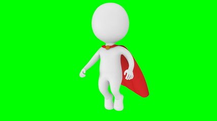 Brave superhero with red cloak fly above