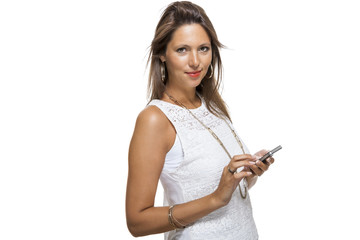 young woman chatting on  mobile reading  tablet computer