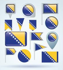 Flag set of Bosnia, vector illustration