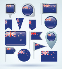 Flag set of New Zealand, vector illustration