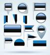 Flag set of Estonia, vector illustration