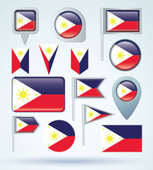 Flag set of philippines, vector illustration