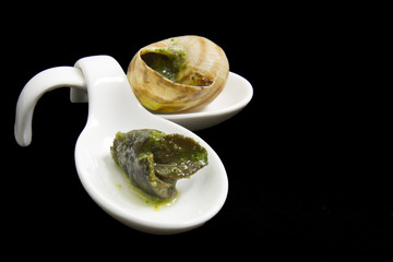 Escargot baked in butter and parsley