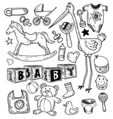 baby icons, vector illustration.