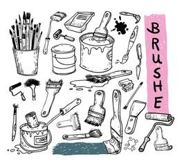 Paint brush set, vector illustration