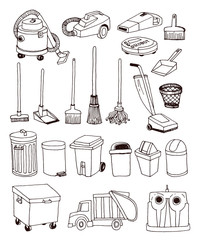 trash icons set, vector illustration