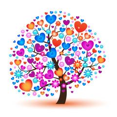 Векторное дерево с сердечками