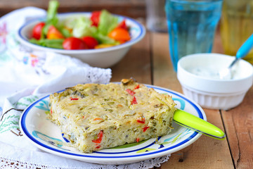 Potato pie with vegetables and cheese. Bulgarian national dish
