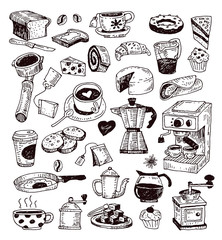 Coffee icon set. Vector illustration