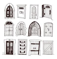 Set of old Door icon, illustration vector.