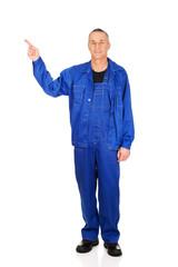 Full length repairman pointing up