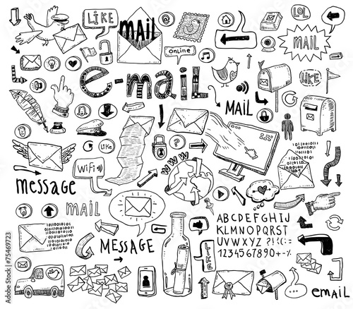 E-mail doodle set. Hand-drawn vector illustration. © carlacdesign