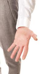 Close up on businessman empty hand
