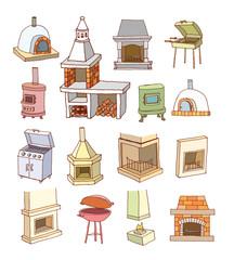 fireplace doodle set, vector illustration