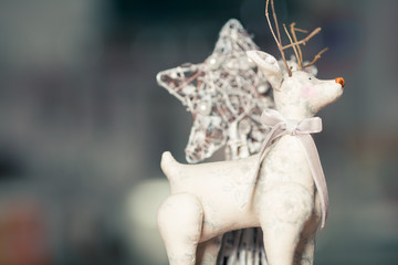 Christmas decoration concept. Vintage toy - christmas deer