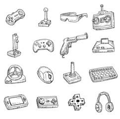 Video game icons set, doodle illustration.