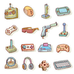 Video game icons set, doodle illustration.