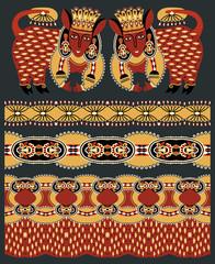 seamless ethnic animal paisley stripe pattern