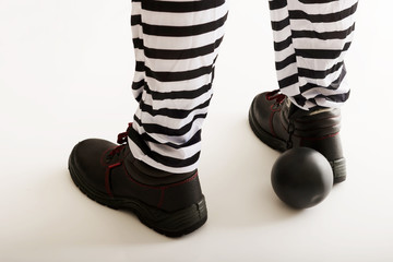 Prisoner legs with chain ball