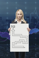 businesswoman holding poster with labyrinth