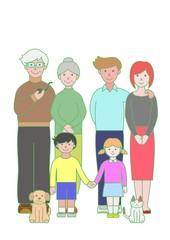 祖父母と父母と子供たちとペット