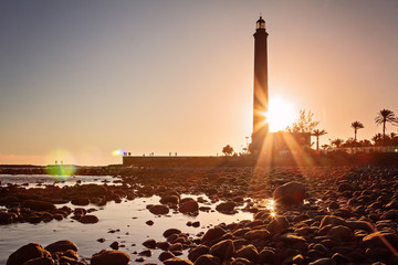 Leuchtturm von Maspalomas im Sonnenuntergang – Gran Canaria