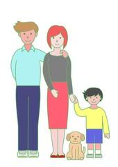 父母と子供とペット