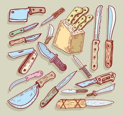 Knife set, vector illustration