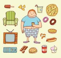 Couch potato cartoon. Vector illustration.