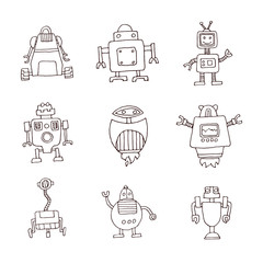 Doodle Robot cartoon, vector illustration.
