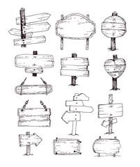 Wooden signs set . Vector illustration.