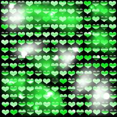 Фон из блестящих сердец с зелёным оттенком