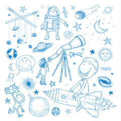 Space boy set, hand drawn vector illustration.