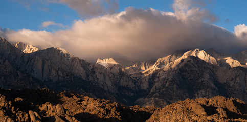 Mt Whitney Covered Cumulus Cloud Sierra Nevada Range California
