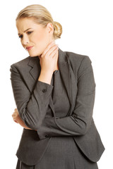 Woman with terrible throat pain