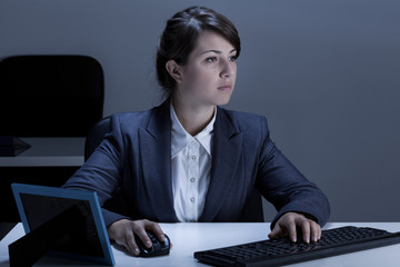 Female office worker during work