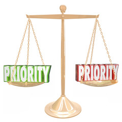 Priority 3d Words Weighing Most Important Jobs Tasks Scale