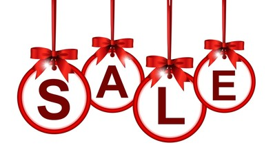sale paper labels with red bows and ribbons