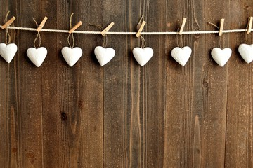 White heart ornaments with clothes pins