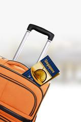 Singapore. Orange suitcase with guidebook.