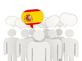 People with flag of spain