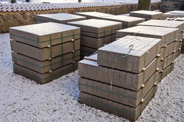 building materials concrete block in urban park