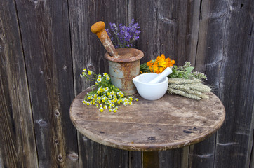 mortars on old table and various medical herbal medicine flowers