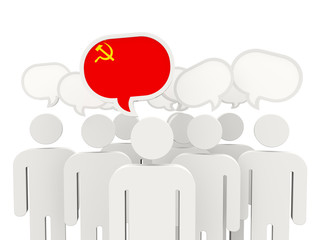 People with flag of ussr