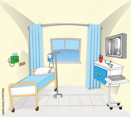 This Illustration And Background Setting Of A Hospital Room Buy