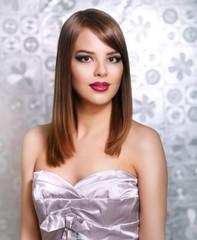 Beautiful girl with straight hair