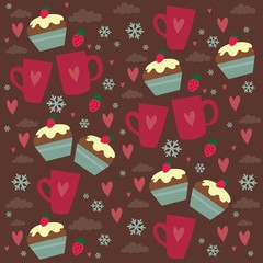 coffee cup cupcake love pattern