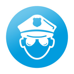 Etiqueta tipo app redonda policia